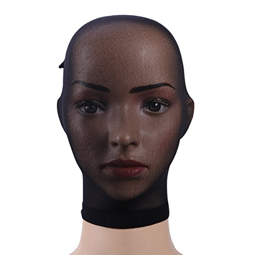 LUOEM Stockings Headgear Pantyhose Mask Black Breathable Unisex Head Transparent Stockings Mask Face Cover Mask for Adults Party Cosplay (Black)