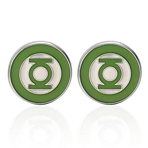 WEJNNI Manschettenknöpfe Round Green Lantern Sleeve Neck Shirt Herren Manschettenknöpfe