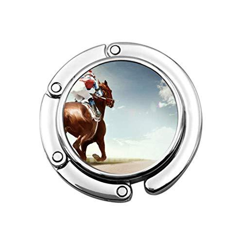 Racing Horse Coming First to Finish Line in Vintage Taschen Kleiderbügel für Geldbörsen Tisch Einzigartige Designs Faltbarer Abschnitt Aufbewahrungstasche Hänger Tisch