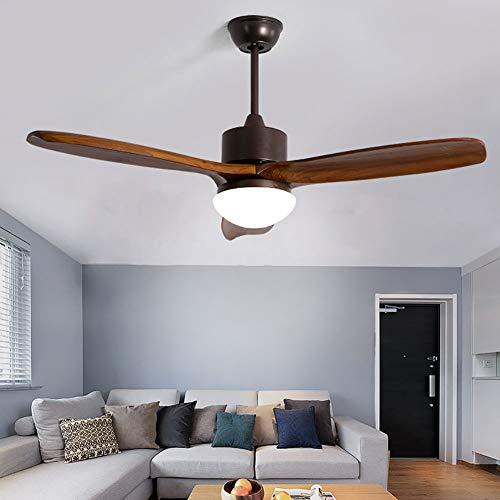 Vinmin Concetto Tradizionale LED Montaggio a Filo, Montaggio a Filo Ventilatore a soffitto, 3-Legno Pale del Ventilatore di Telecomando Reversibile Ferro, Legno e Vetro di Colore Doppio 42inches