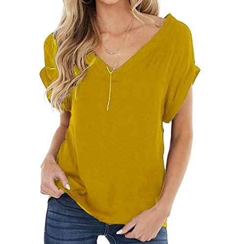 SLYZ Camiseta De Manga Corta con Cuello En V Y Cuello En V De Moda De Verano para Mujer, Camiseta Sexy De Gran Tamaño para Mujer