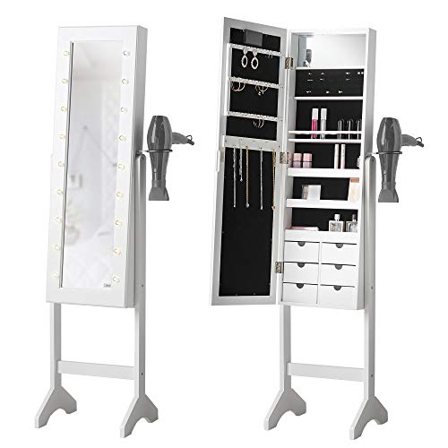 Zoey White Standing Full Length Jewellery Mirror Cabinet with LED Lights & Hair Dryer Holder 6 Drawers Shelves Storage For Makeup Bedroom Cosmetics