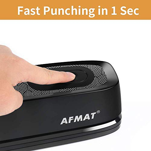 Electric 3 Hole Punch, AFMAT Electric Paper Punch Heavy Duty, 20-Sheet Punch Capacity, AC or Battery Operated 3 Hole Puncher, Effortless Punching, Long Lasting Paper Punch for Office School,Gray&Black Photo #2