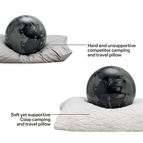 Coop Home Goods - Adjustable Travel and Camping Pillow - Shredded Memory Foam Fill - Lulltra Washable Cover - Includes Compressible Stuff Sack - CertiPUR-US/GREENGUARD Gold Certified