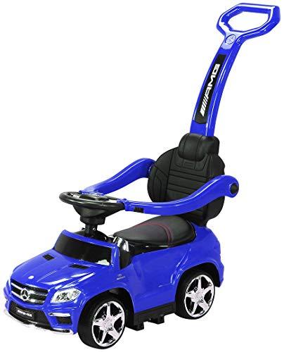 Actionbikes Motors Kinder Rutschauto Mercedes Amg GL 63 - Lizenziert - 4 in 1 - Schiebestange - Rutscher - Laufrad - Lauflernwagen - Lernspielzeug für Kinder ab 1 Jahr (Blau)