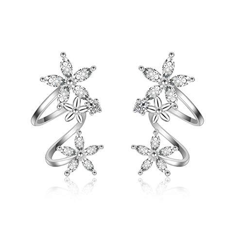 NOBRAND Pendientes de Plata de Ley 925 Pendientes de circón de Flores Pendientes Femeninos Señora Rose Gold Ear Jewelry