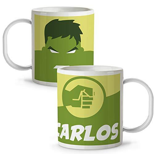 Taza Superhéroes Personalizada con Nombre | Plástico | Vuelta al Cole | Varios Diseños y Colores Interior | Hulk