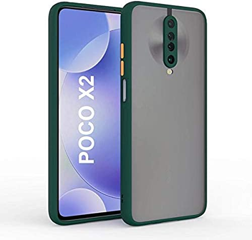 Mobyro Redmi Poco X2 Smoke Case Phone Cover Hard Matte Finish Smoke Case With Soft Side Frame Fit Protective Back Cover For Redmi Poco X2 Green
