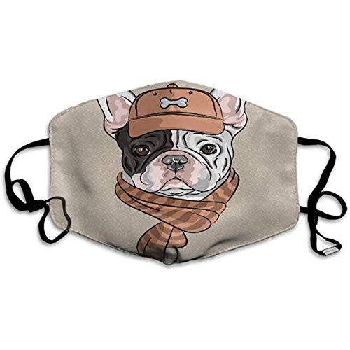 Hipster Dog French Bulldog Rasse in Einer braunen Kappe Staubschutz Party Mundabdeckung Mundabdeckung Staubschutz