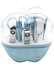 OUNONA 9-i-1 rostfritt stål dam ögonbryn sax nagelklippare spegel kosmetisk set (himmelsblå)