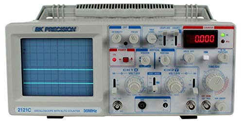 B&K Precision 2121C Analog Oscilloscope with Frequency Counter, Dual Trace, 30 MHz Bandwidth