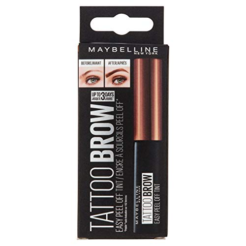 Maybelline New York Augenbrauenfarbe, Tattoo Brow Gel Tint, Mit Peel-off-Formel, Nr. 2 Medium Brown, 5 ml