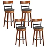 COSTWAY Bar Stools Set of 4, 360-Degree Swivel Stools with Leather Padded Seat, Single Slat Ladder Back & Solid Rubber Wood Legs, Counter Height Stools for Pub, Restaurant, Kitchen, Brown (4, 30.5)
