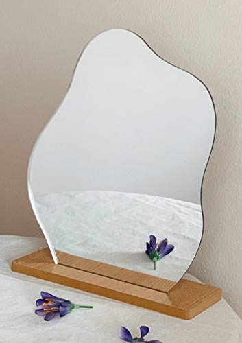 All Things Shared Decorative Acrylic Mirror with Stand/Base, Adjustable Vanity Mirror, Table -