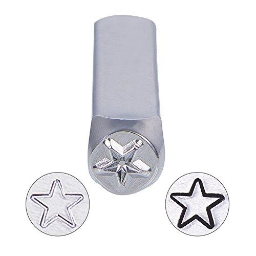 UNICRAFTALE 1PC Hierro Patrón de Estrella cuboide Sello de Metal Perforado Platino Estuche de Estampado Etiqueta de Acero del Metal Kits de Estampado 64,5x10x10mm