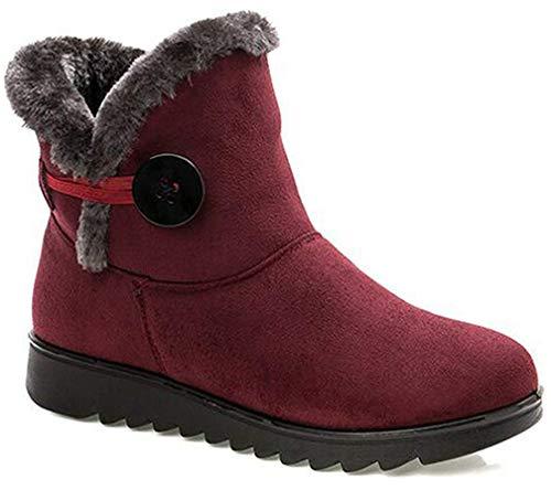 2020 Zapatos Invierno Mujer Botas de Nieve Casual Calzado Piel Forradas Calientes Planas Outdoor Boots Antideslizante Zapatillas para Mujer EU35/fabricante 230,Rojas Botas de invierno