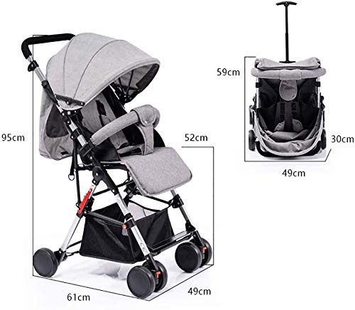 LAMTON High Landscape Easy Folding Baby Light Jogging Detachable Four Season Baby Stroller, Suitable for 0-36 Months Baby Can Withstand 55PL LAMTON This high-view stroller is made of linen and breathable. The frame is made of aerospace aluminum to make the body lighter, more stable and safer. The awning can be adjusted at any angle to cope with all kinds of weather. The awning is equipped with a back pocket for parents to store items they carry with them, such as mobile phones and car keys. The tires use EVA solid foam wheels to avoid problems with aeration and puncture. The rear wheels are equipped with brakes, front wheel suspension and 360° steering for a variety of roads. 7