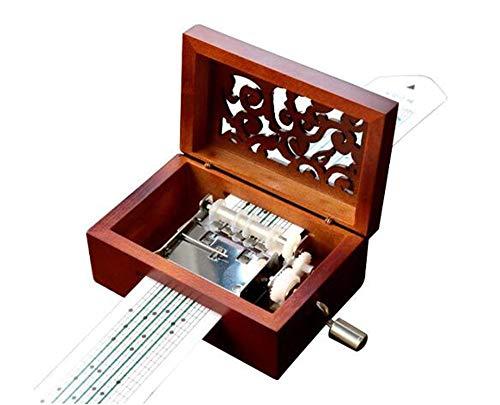 Cuzit Antico Vintage Telefono Carillon In Legno 15 Note Movement Manovella Carillon DIY Make Yr Own Song Include A Punch, 20 Fogli Bianchi E 16 Music Paper Best Gift