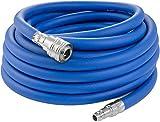 Poppstar Manguera Compresor Aire 10m (PVC híbrido con tejido, diámetro interior 9,2mm con acoplamiento rápido y conector de manguera), hasta 20 bar, azul