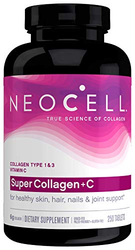 NeoCell Super Collagen with Vitamin C, 250ct Collagen Pills, Non-GMO, Grass Fed, Paleo Friendly, Gluten Free, Collagen Peptides Types 1 & 3 for Hair, Skin, Nails and Joints (Packaging May Vary)