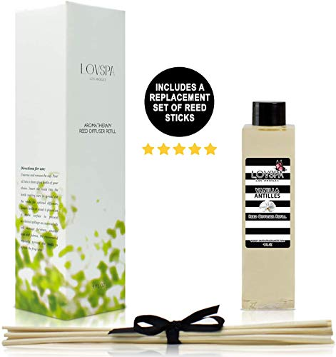 LOVSPA Vanilla Antilles Reed Diffuser Oil Refill with Replacement Reed Sticks | Scent for Kitchen or Bathroom, 4 oz| Made in The USA