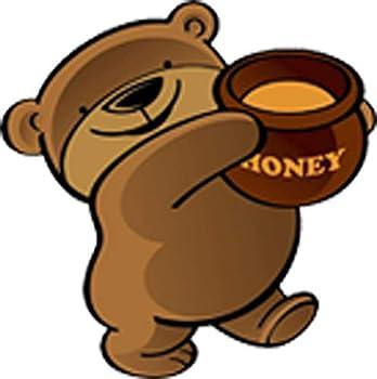 Cute Adorable Plump Brown Bear with Honey Jar Cartoon Vinyl Decal Sticker  4  Wide