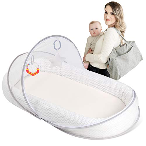 Lupantte Portable Baby Lounger Co-Sleeper, Comfortable & Foldable Baby Nest to Go, Lightweight Newborn Bassinet for Crib, Napping, Travel and Gift