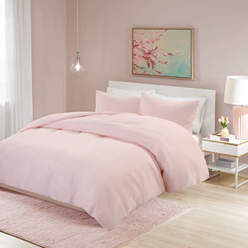 Non-Iron Plain Brushed Duvet Cover Set Double Size - 3 Pcs Ultra Soft Hypoallergenic Microfiber Quilt Cover Sets - Pink