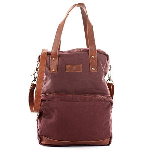 LECONI Rucksack & Umhängetasche in einem für Damen & Herren Retro Backpack Canvas + echtes Leder Bodybag DIN A4 Schultertasche 2in1 Freizeitrucksack 28x37x13cm LE1014-C, Bordeaux / Braun, L