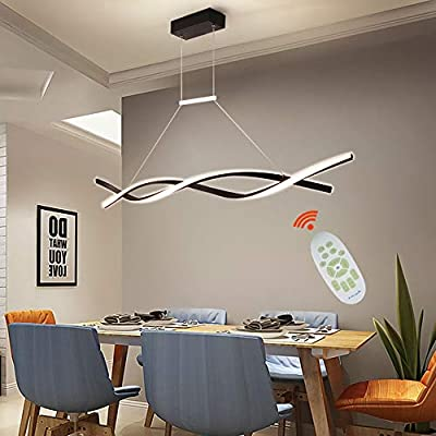 Modern Pendant Lighting Acrylic Stepless Dimmable Transitional Chandelier Led Dimming Ceiling Lamp Wave Hanging Light Contemporary Living Dining Room Kitchen Island with Remote