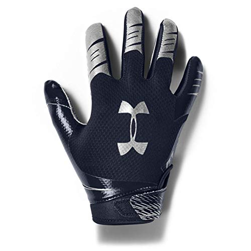 Under Armour Boys' F7 Youth Football Gloves , Midnight Navy (410)/Metallic Silver , Youth Small
