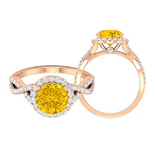Rosec Jewels 14 quilates oro rosa redonda round-brilliant-shape H-I Yellow Diamond zafiro sintético amarillo