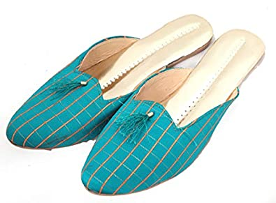 Apratim Synthetic Leather WomenGirl Slippers/Flat Chappals Turquoise Color