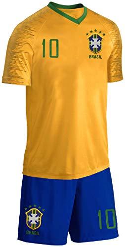 Blackshirt Company Brasilien Kinder Trikot Set Fußball Fan Zweiteiler Gelb Blau Größe 116