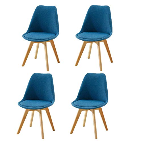 SFSGH Classic Tulip Retro Kitchen Chair Set of 4 Cotton Fabric Surface with Comfy Cushioned Seat Solid Beech Wooden Legs Dining Chairs for Dining Room and Living Room