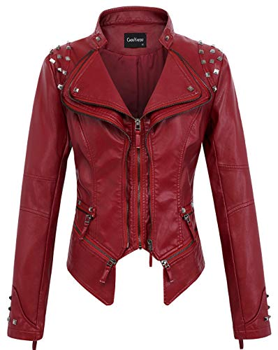 chouyatou Women's Fashion Studded Perfectly Shaping Faux Leather Biker Jacket (Small, Dark Red)