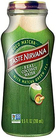 Taste Nirvana Real Coconut Water Coco Matcha with Matcha Green Tea 9 5 Ounce Glass Bottles Pack product image