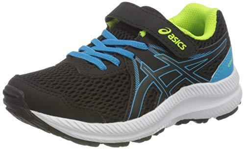 Asics Contend 7 PS, Road Running Shoe, Black/Digital Aqua, 33.5 EU