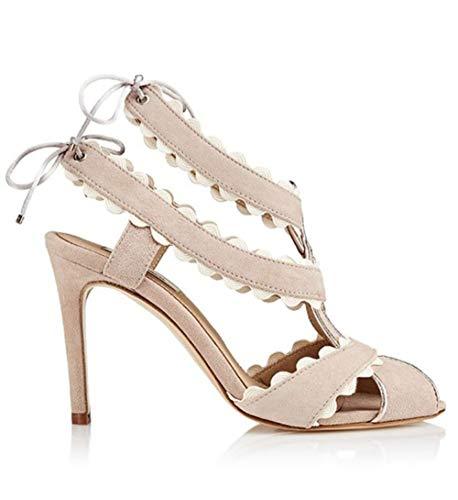 Sandalia Mujer Beige tacón Alto con Cordones Helena Neutral – Sandalias para Bodas, Sandalias Elegantes, Sandalias para…