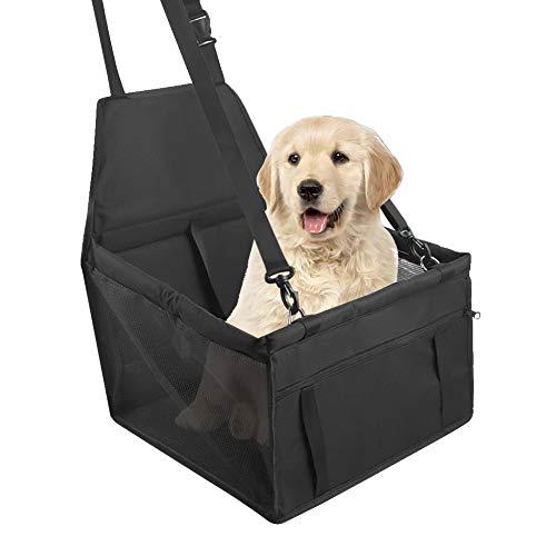 MEEQIAO Hunde Autositz,Sitzerhöhung für Hunde,Wasserdicht Faltbar Atmungsaktiv Haustier Sicherheit,Verstärkter Autositz für Reise kleine und Mittlere Hunde (Scharwz)