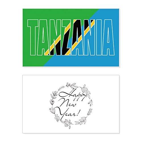 Tanzania Land Vlag Naam Nieuwjaar Card Herdenkingsbericht Zegen