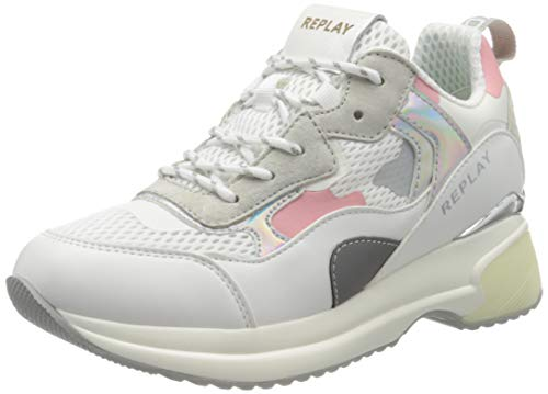 Replay Damen Comet - Script Sneaker, Pink (White Pink 77), 39 EU