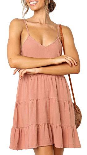 PinUp Angel Pink Women Sleeveless Cotton Cami Dress V Neck Loose Flowy Swing Shift Dresses