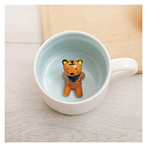 coffee mugs Keramikbecher 3D tierischer Frühstücksbecher geeignet für Paare Trinkbecher wie Cappuccino-Kaffee Milch usw Vater und Freunde (Color : Tiger)