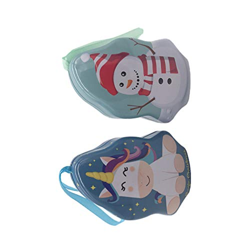 TOPBATHY 2PCS Christmas Tree Shape Gift Tin Small Christmas Cookie Tins Containers Party Favor Supplies for Cookie Candy and Card(Random Pattern)