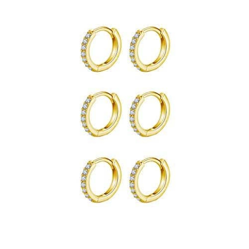9ct Gold Plated Hoop Earrings, 925 Sterling Silver Post Small Gold Hoop Earrings with AAA Cubic Zirconia, 3 Pairs Hypoallergenic Small Sleeper Hoops Huggie Hinged Earrings (8mm*3)