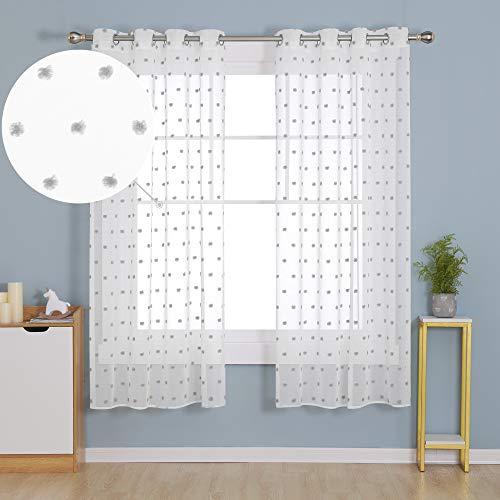 Deconovo Cortinas Translucida y Visillos Salón para Ventanas Dormitorio Juventil de Decorativas Infantiles Lino Voile Suave 140x183cm Gris