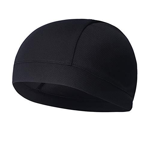 LNIMIKIY Radkappe, Outdoor, solides Reiten, Laufen, atmungsaktiv – ideal als Helmfutter, tolle Thermo-Fahrradmütze, Laufmütze und Sportmütze (schwarz)