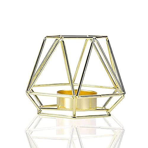 MKOIJN Candelabros de metal de alambre de hierro candelita candelabro para decoración de mesas de sala de estar, decoración de baño, soporte de forma geométrica dorada (2 piezas de oro)