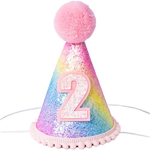 DIWULI, süßer Party-Hut Zahl 2 mit Bommel, 15,5 x 10,5 cm, süßes Prinzessinnen Party-Hütchen, bunter Kegel-Hut, Kopfschmuck pink bunt 2. Geburtstag, Kindergeburtstag, Baby-Party, Feier, Motto-Party